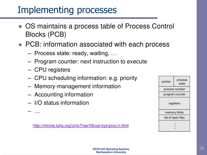 Implementing processes