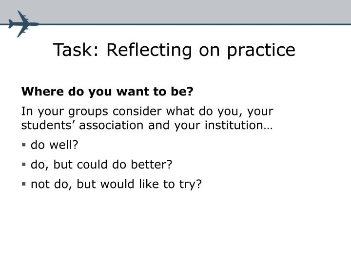 Task: Reflecting on practice