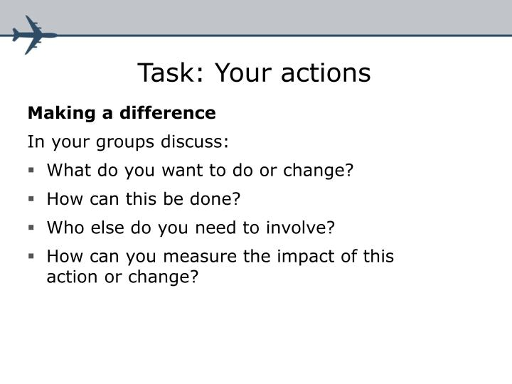 Task: Your actions
