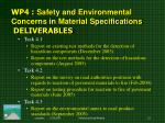 wp 4 safety and environmental concerns in material specifications deliverables
