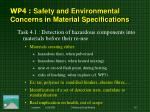 wp 4 safety and environmental concerns in material specifications