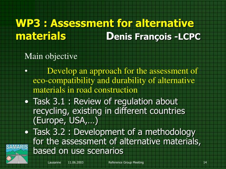 WP3 : Assessment