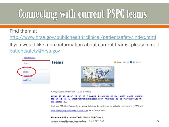 Connecting with current PSPC teams