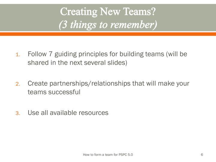 Creating New Teams?