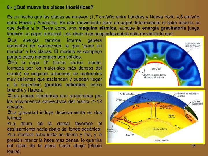 8.- ¿Qué mueve las placas litosféricas?