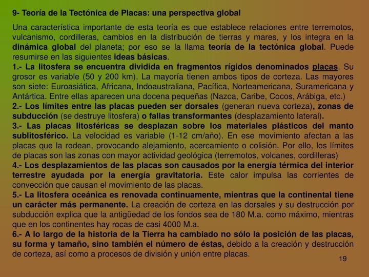 9- Teoría de la Tectónica de Placas: una perspectiva global