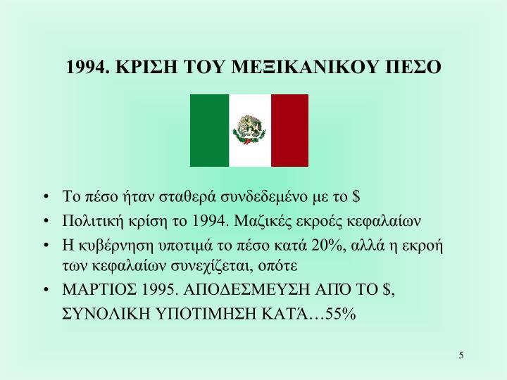 1994. ΚΡΙΣΗ ΤΟΥ ΜΕΞΙΚΑΝΙΚΟΥ ΠΕΣΟ