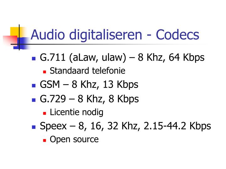 Audio digitaliseren - Codecs
