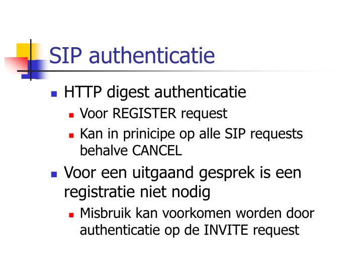 SIP authenticatie