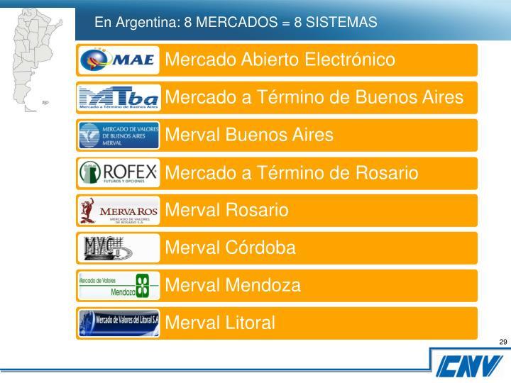 En Argentina: 8 MERCADOS = 8 SISTEMAS
