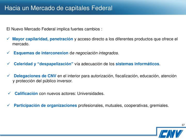Hacia un Mercado de capitales Federal