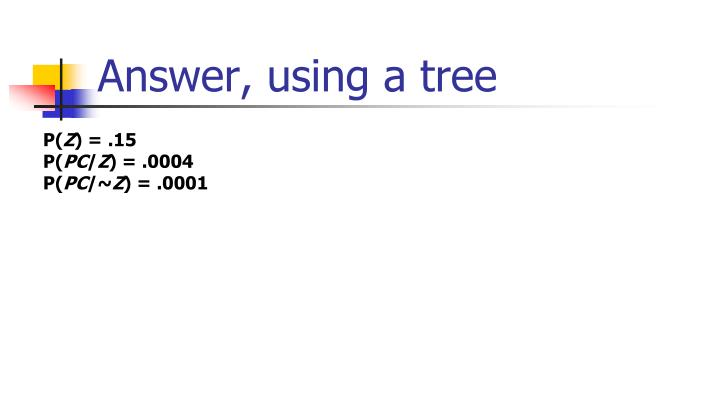 Answer, using a tree