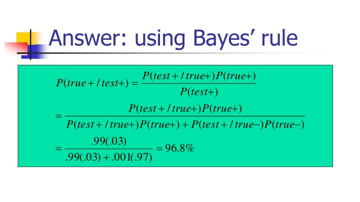 Answer: using Bayes' rule