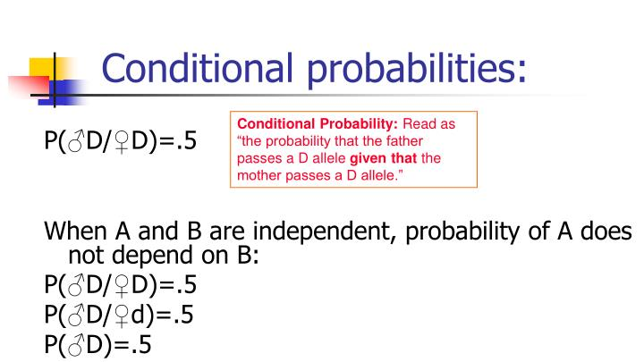 Conditional probabilities: