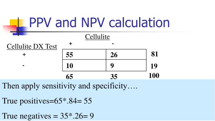 PPV and NPV calculation