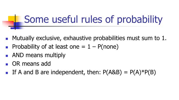 Some useful rules of probability