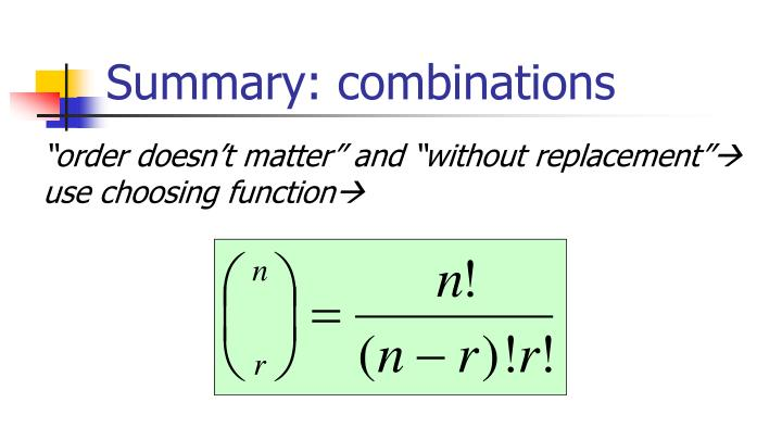 Summary: combinations