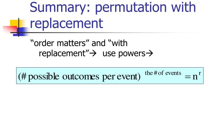 Summary: permutation with replacement