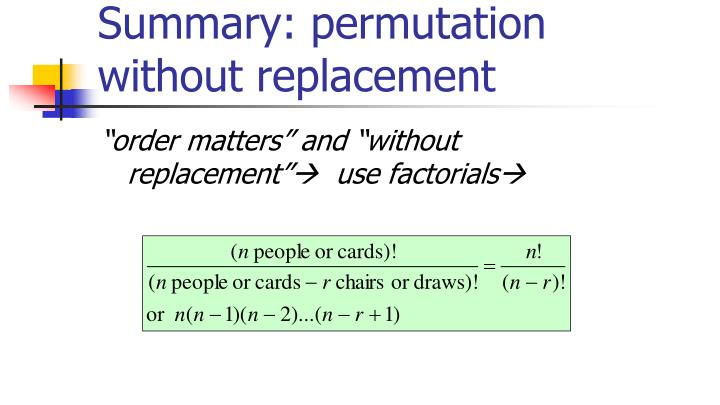 Summary: permutation without replacement
