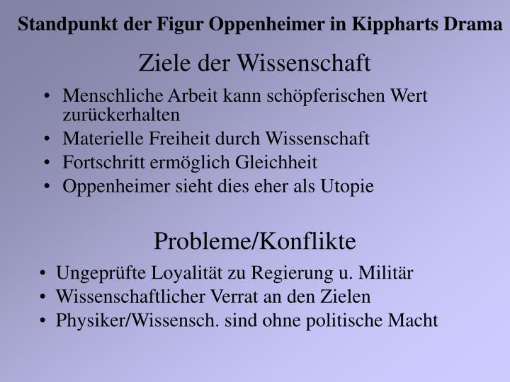 Standpunkt der Figur Oppenheimer in Kippharts Drama