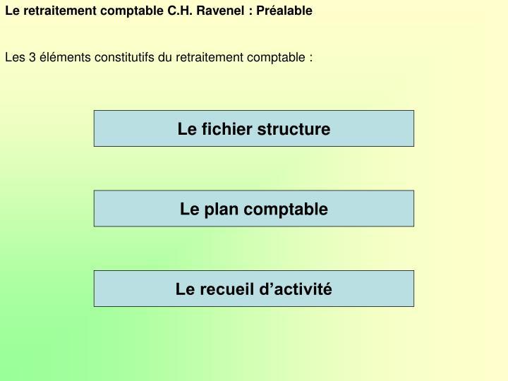 Le retraitement comptable C.H. Ravenel : Préalable