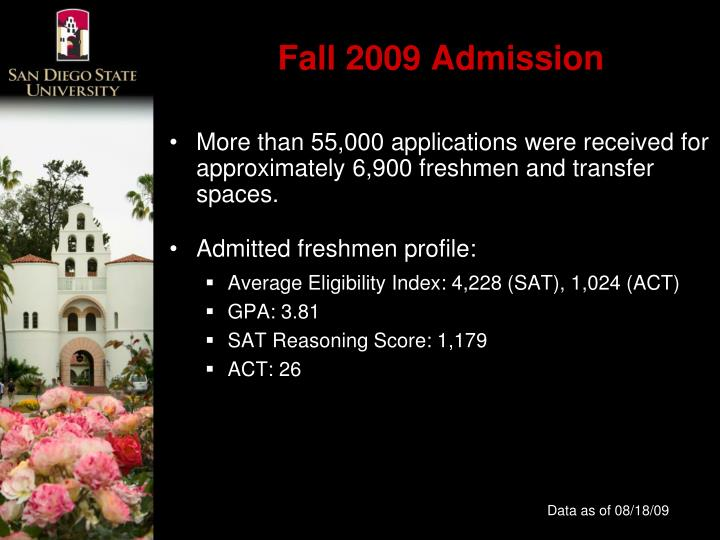 Fall 2009 admission