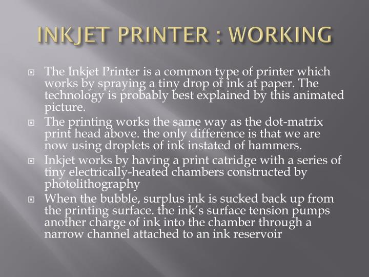 INKJET PRINTER : WORKING