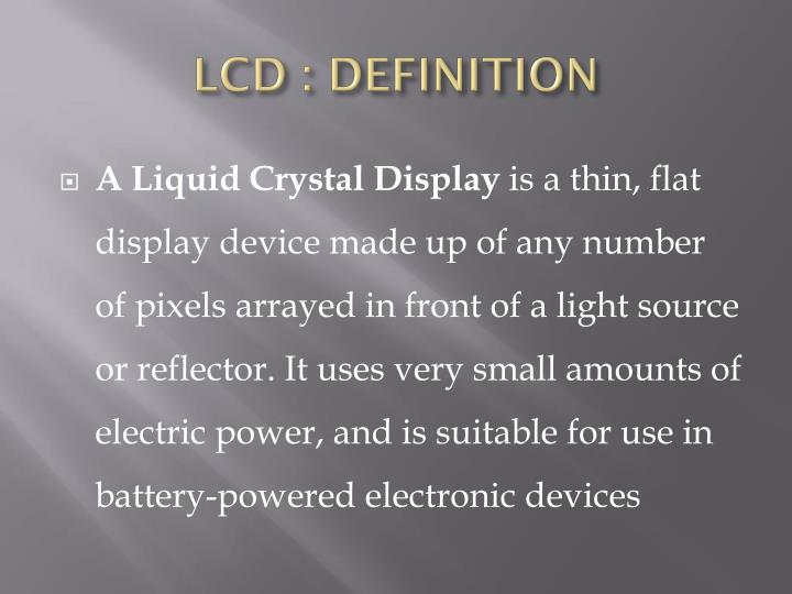 LCD : DEFINITION