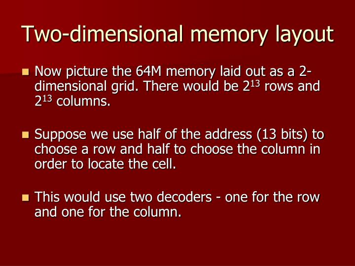 Two-dimensional memory layout