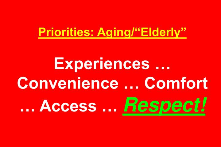 Priorities: Aging/Elderly