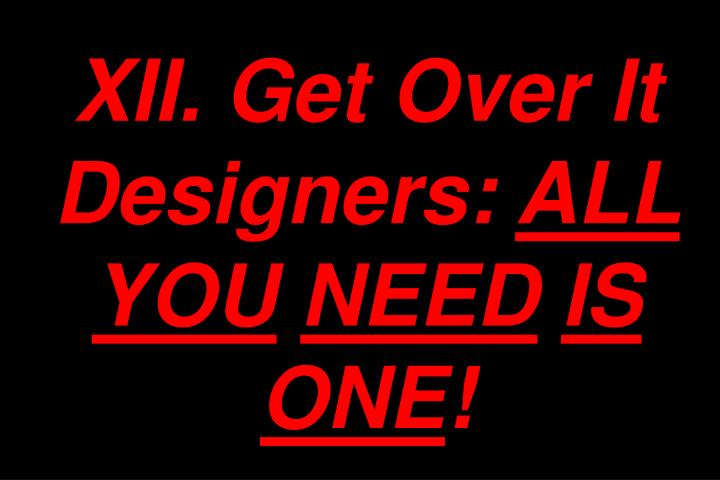 XII. Get Over It Designers: