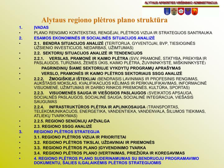 Alytaus regiono plėtros plano struktūra