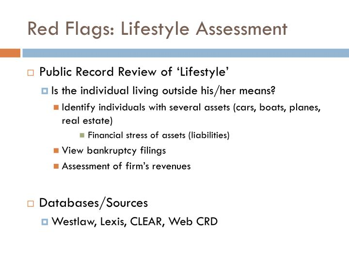 Red Flags: Lifestyle Assessment