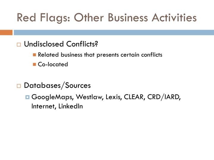 Red Flags: Other Business Activities