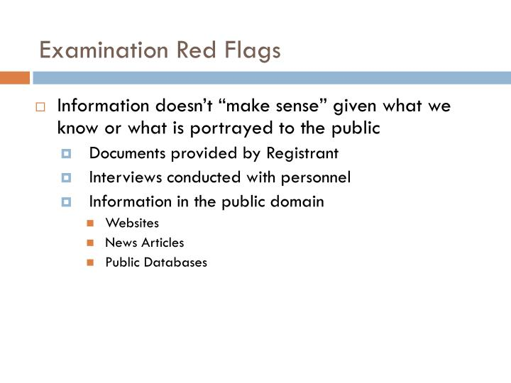 Examination Red Flags
