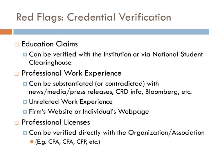 Red Flags: Credential Verification