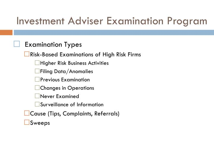 Investment Adviser Examination Program