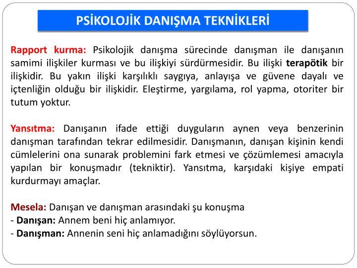 PSİKOLOJİK DANIŞMA TEKNİKLERİ