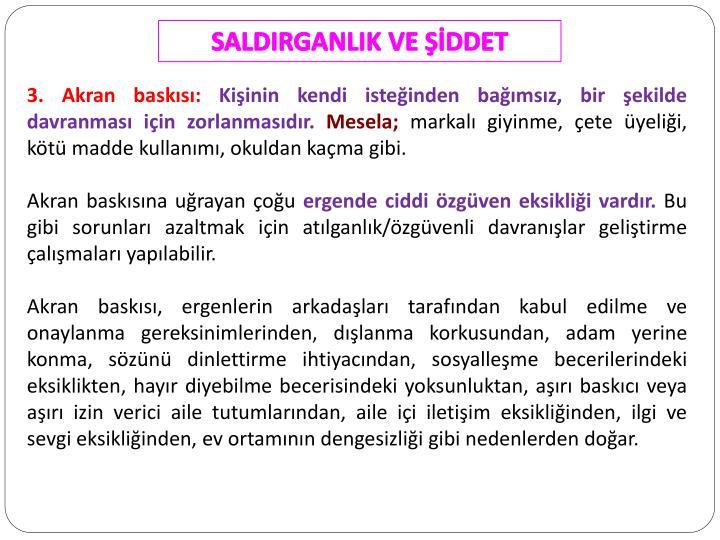 SALDIRGANLIK VE ŞİDDET