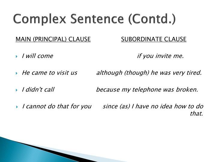 Complex Sentence (Contd.)