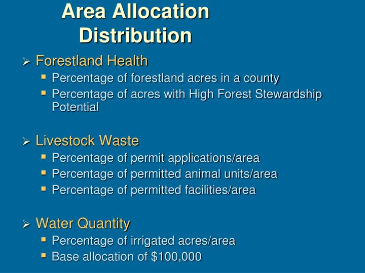 Area Allocation Distribution