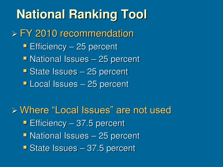 National Ranking Tool