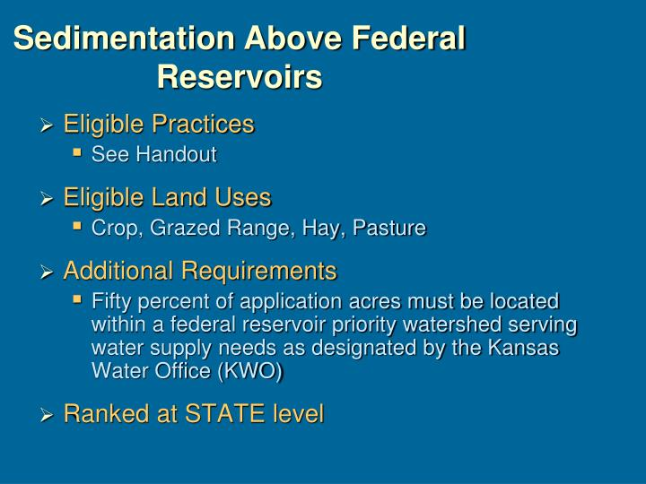 Sedimentation Above Federal Reservoirs