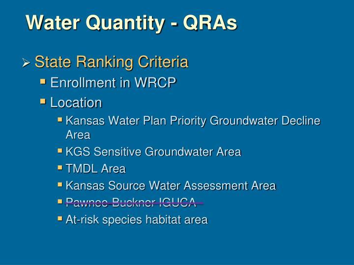 Water Quantity - QRAs