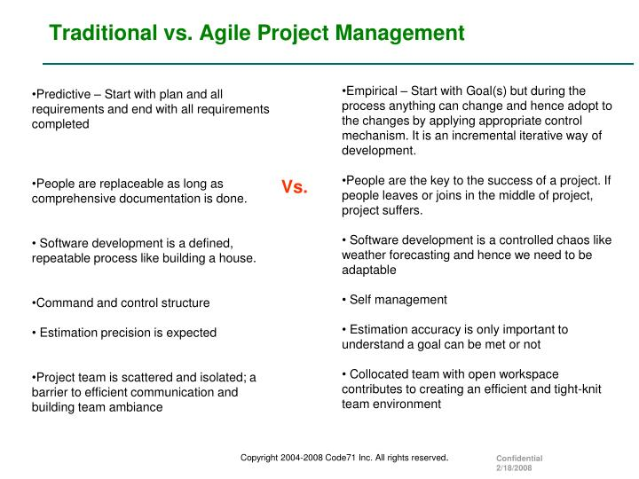 Ppt agile 101 an introduction to managing it projects for Agile vs traditional methodologies