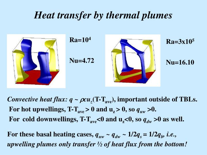 Heat transfer by thermal plumes