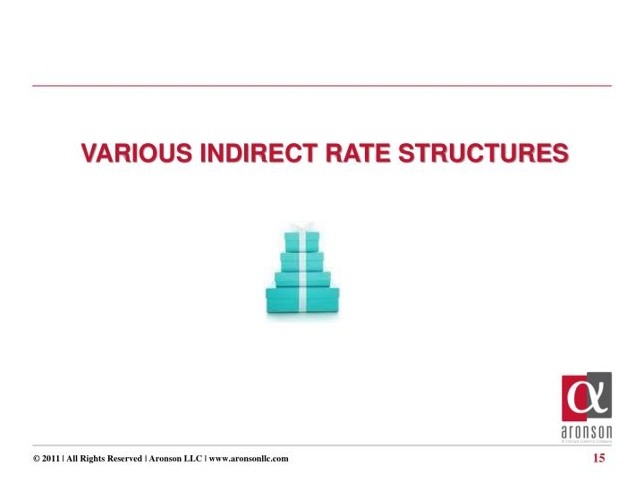 VARIOUS INDIRECT RATE STRUCTURES