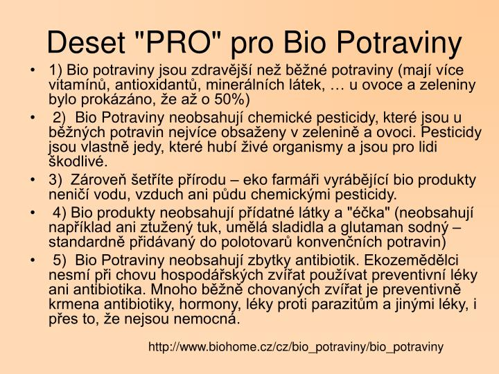 "Deset ""PRO"" pro Bio Potraviny"