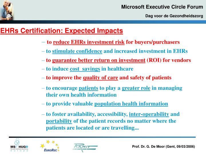 EHRs Certification: Expected Impacts