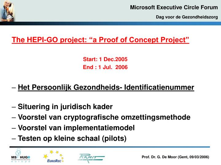 "The HEPI-GO project: ""a Proof of Concept Project"""
